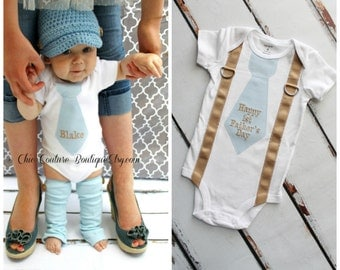 Happy 1st Father's Day Baby Boy Tie & Suspender Bodysuit. Any Necktie Fabric. Plaid, Stripes Argyle. New Dad New Baby, Holiday, Coming Home