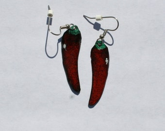 Cayenne Pepper earrings / copper enamel jewelry / food jewelry
