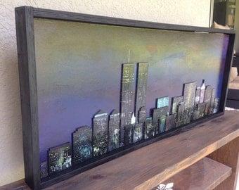 Custom made New York City Skyline hand painted on wood