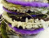 Art Yarn Fiber Bundle, 14 yards, olive, purple, cream, novelty yarn, specialty yarn, SALE