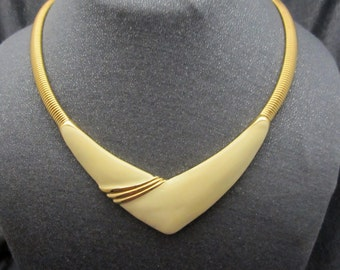 Enameled Metal Bib Necklace Monet jewelry cream color gold tone V front necklace signed vintage jewelry costume necklace 1960's
