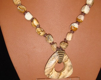 Wild Horse Picture Jasper Necklace with Pendant and Earrings With Bronze Accents, Set