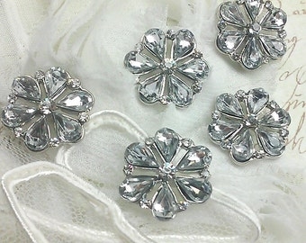 10 pieces Silver Metal  Clear Glass Rhinestone Shank Buttons 18 mm Bridal Embellishment.