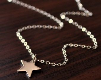 Star Necklace, Sterling Silver, Jewelry for Child Teen or Women, Custom Birthstone Necklace, Simple Jewelry