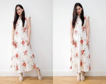 Vintage Cream Floral Oriental Grunge Boho Wedding Maxi Dress