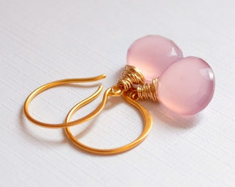 Lavender Pink Earrings, Gold Vermeil, Wire Wrapped Jewelry, Chalcedony Gemstone Heart, Simple Drop Earrings, Free Shipping