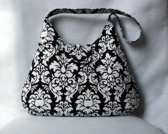 Black and White Damask Hobo Bag with Maroon Lining