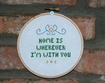 "Edward Sharpe and the Magnetic Zeros Cross Stitch Lyrics- ""Home"" from Up From Below"