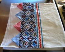 Flour Sack Tea, Kitchen, dish towel-Bowl of Cherries/Red and Blue Gingham