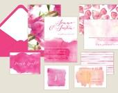 Watercolor/Watercolour Wedding Invitations - Hot Pink Peony/Fuchsia/Modern/Digital or Printed