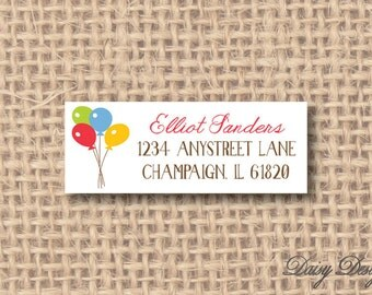 Return Address Labels - Party Balloons - 120 self-sticking labels