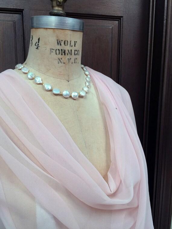 Pale Pink Blush Pink Chiffon Wrap Shawl with Rhinestone XLarge