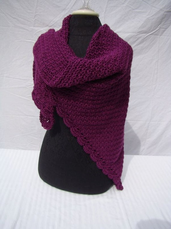 Mulberry wine hand crocheted shawl with moss stitching and scallop edging