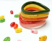 Vintage Wavy Bangle Set - Rainbow Retro Bracelets - Speckled Jelly - set of 5