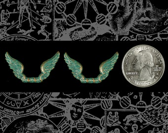 Verdigris Joined Flared Wings *  Set of 2  V-C106