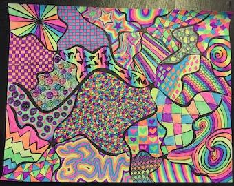 8 1/2 x 11 Rainbow Black Light Neon Pen Drawing