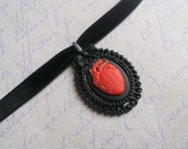 Gothic Lolita red heart choker necklace resin