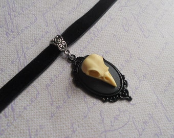 Gothic Lolita bird skull cameo choker necklace black velvet