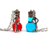 Pair of Full Health & Mana Potion Necklaces with Key Charms PC Video Gamer