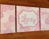 large colorful nursery art - personalized- hand painted- pink, mauve floral