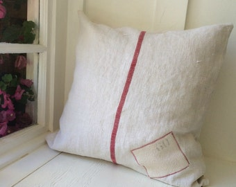 Vintage Grain Sack Pillow Cover French Hemp Red Stripe