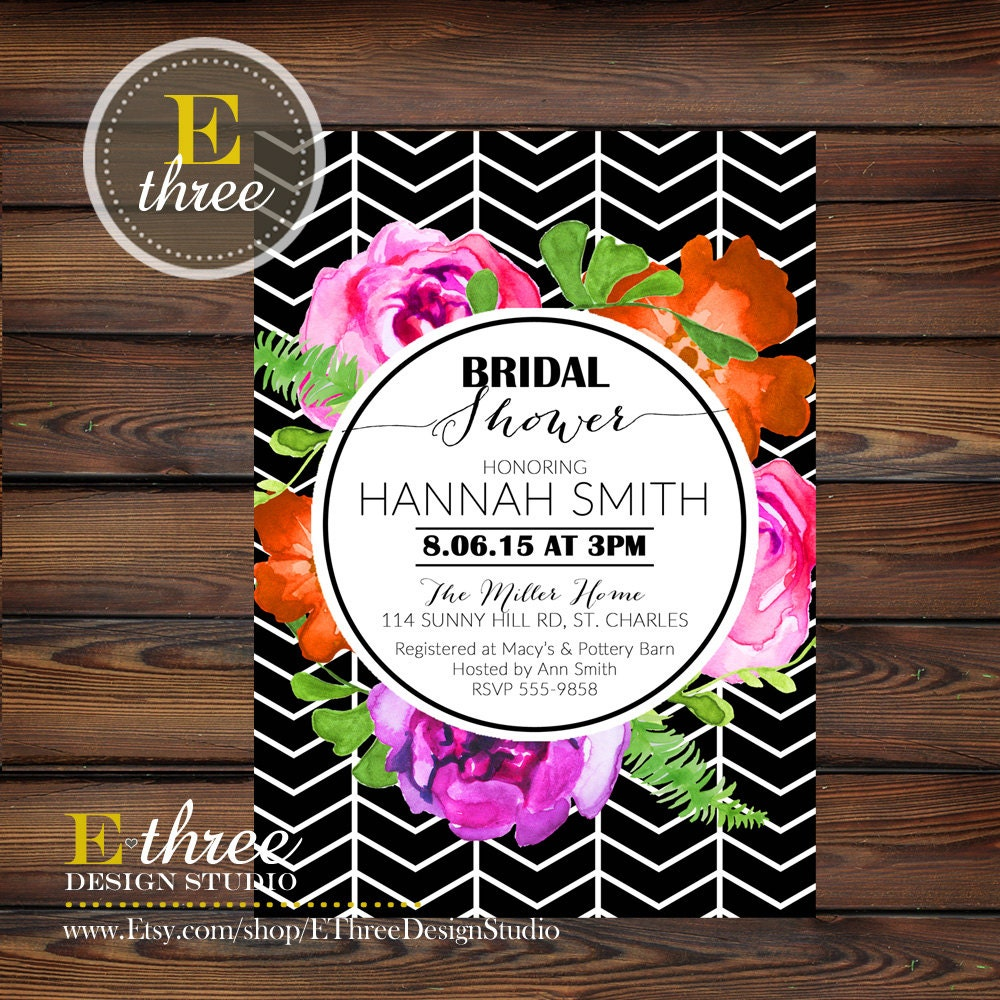 Modern Floral Bridal Shower Invitation Geometric Black And