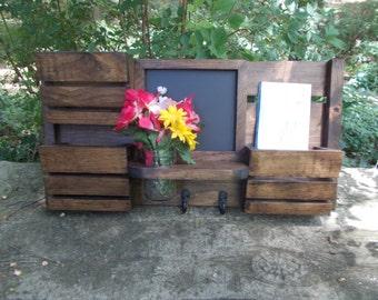 3 Slot Mail Organizer--Mason Jar Vase Holder-- Mail--Recipe Holder--