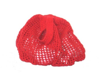 Shoulder Bag, Crochet Cotton Mesh, Red