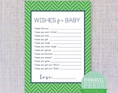 Print Your Own Baby Wish Cards - Green & Navy - Herringbone - Baby Book Keepsake - Baby Shower Game