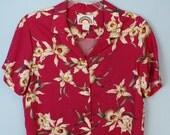 Retro Hawaiian Womens Shirt Pink Tropical Vintage 80s Luau Large