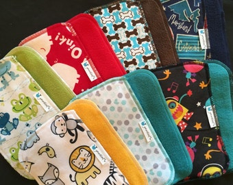 Cloth Baby Wipes, Family Cloth, Reusable Wipes, Assorted Gender Neutral Prints, Pack of 25 Cloth Wipes