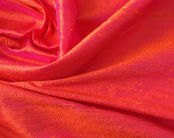 WHOLESALE OFFER 17% OFF - 10 Yards Coral Pink 100 Percent Pure Silk Dupioni Fabric Wholesale Silk Raw Silk Fabric Indian Silk