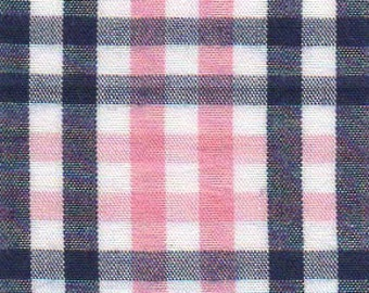 Navy and Pink Check by Fabric Finders