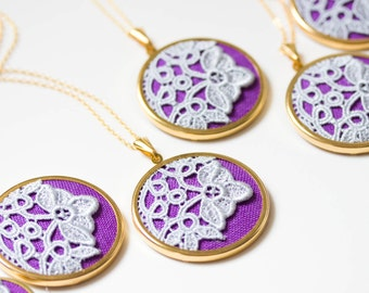 Lace necklace with grey lace and purple fabric l002
