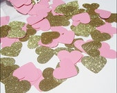 Pink & Gold Glitter Hearts, Party Confetti Decorations, Table Scatter, Weddings, Bridal Showers, Dessert Bar Decor, Birthdays, 200 Pieces