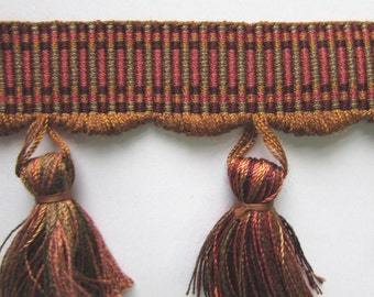 BROWN RUST green Tassel fringe  3""