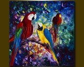 Parrot Portrait Original Animal Oil Painting Textured Palette Knife Modern Art 24X24 by Willson Lau