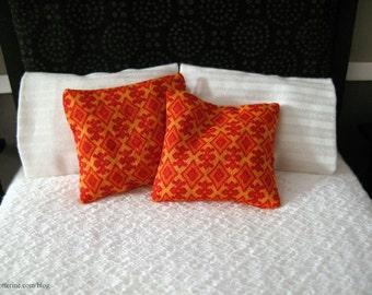 Orange abstract pillows - set of 2 - dollhouse miniature