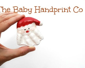 Santa Ornament - Handprint Ornament - Christmas Ornament - First Christmas Ornament - Babys First Christmas - Baby Handprint Santa Ornament