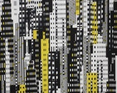 Black and White with Yellow Graphix Urban Abstract Print Pure Cotton Fabric--One Yard