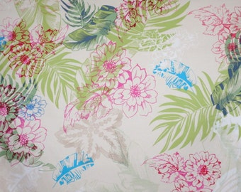 Pastel on Ivory Tropical Floral Print Stretch Cotton Sateen Fabric--One Yard