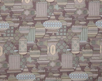 SPECIAL--Neutral Green and Brown Georgetown Geometric Print Pure Cotton Fabric--One Yard