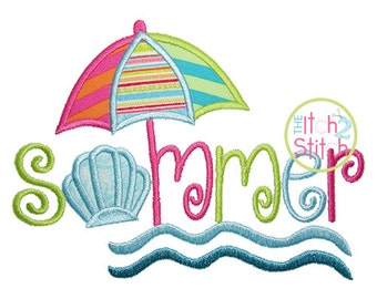 Summer Applique Design For Machine Embroidery Hoop size(s): 4x4, 5x7, & 6x10  INSTANT DOWNLOAD now available