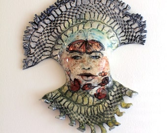 Contemporary Mask, Goddess Mask, Ceramic Mask with Watercolor glazes, Fine Art Mask for the Home