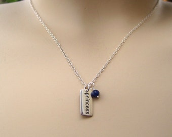 Sterling Silver Prinzess and Blue Sapphire Necklace
