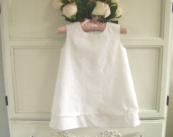 Simple Summer Baptism Dress size 2, Toddler, Double Layered, White Embroidered Flower Girl, Occasion Dress