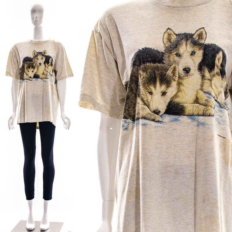 vintage gray baby wolves husky dogs snow t shirt