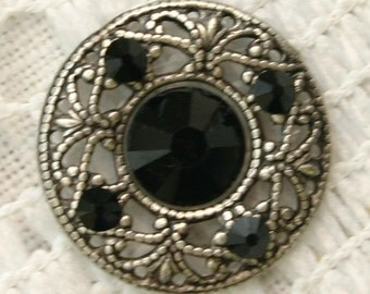 Affordable Round Midlight Bindi in Oxidized Silver