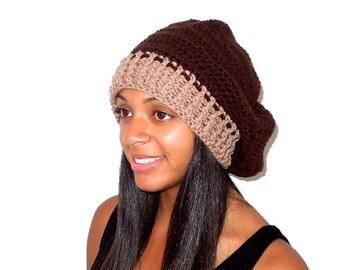 Crochet Slouchy Hat, Women, Men, Teen, Tam, Brown, Beige, Ready To Ship