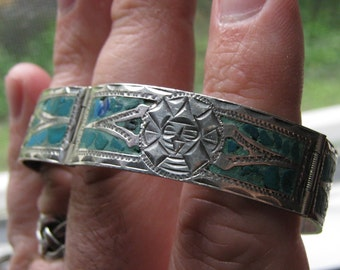 Vintage Southwestern Turquoise Bracelet Aztec or Mayan Tribal Symbol Sterling Silver Womens Ladies